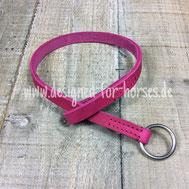 Longieradapter aus Fettleder in Pink mit Edelstahlring