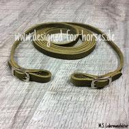 Fettlederzügel oliv mit silbernen Islandschnallen 12mm