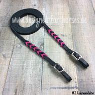 Fettöederzügel mit Flechtung Schwarz Pink