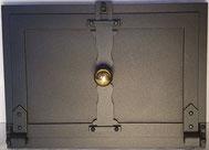 Kochrohrfalltüre, antik, Knopf Messing oder Schmiedeisen, auf Wunsch mit angebautem Kochrohr