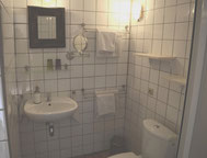 The privat bathroom of Coquelicot with shower and toilet