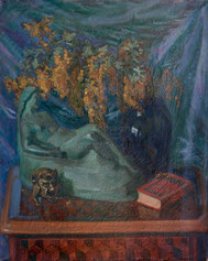 Nr.667 Stilleben mit Blumen und Skulpturen