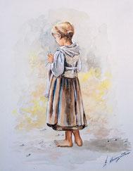 Nrn 1116  Mädchen strickt Schal