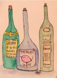 Rotwein Edition Piepmatz, Illustration von silvanillion