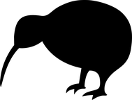 - Silouette d'un kiwi - animal emblématique de la NZ -