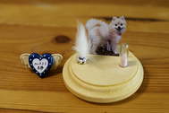 毛・小さなお骨(歯など)・写真・位牌モチーフ)をガラスドームに保管する商品です
