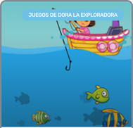 Dora en el mar pescando