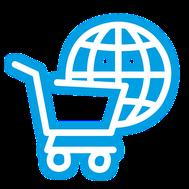 Icon: Digitaler Globus und Warenkorb. Steht für Fulfillment, E-Commerce & Onlinehandel
