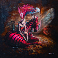 Frau mit Hasenkopf als Kapuze im Graffiti Style.