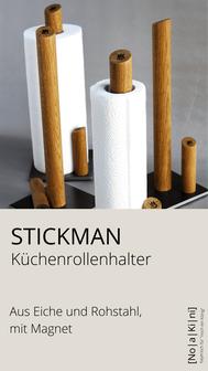 Küchenpapierhalter aus Eiche und Rohstahl