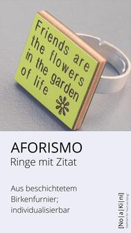 Zitat auf Ringen, versilbert, aus Holz