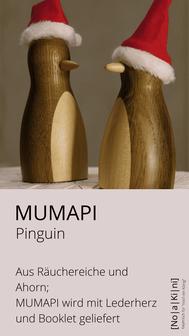 Pinguin gedrechselt; aus Eiche und Ahorn