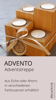 Adventstreppe aus Eiche und Ahorn