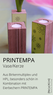 Vase mit Frühlingsmotiv; aus Holz, zum Wenden