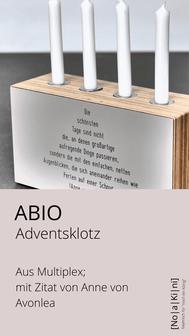 Adventsklotz mit Zitat von Anne von Avonlea