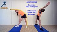 dynamisches Stretching der Beinmuskulatur und des seitlichen Rumpfes, Stretchingübungen, Physio Übungen, Video