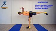 dynamisches Stretching der Oberschenkelrückseite in der Standwaage, Stretchingübungen, Physio Übungen, Video
