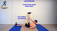 dynamisches Stretching der Oberschenkelrückseite, Stretchingübungen, Physio Übungen, Video