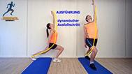 dynamisches Stretching der Oberschenkel, Rumpfvorderseite, Stretchingübungen, Physio Übungen, Video