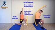 dynamisches Stretching der Hüftstrecker, seitlicher Oberkörper, Stretchingübungen, Physio Übungen, Video