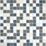 Glasmosaik 2x2 weiss grau metall