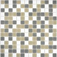 Glasmosaik 2x2 weiss grau braun