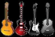 Grafik mit vier Gitarren