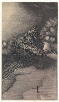 「方舟の漂着」 65x95mm  銅版画・雁皮刷り