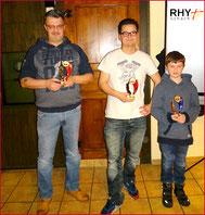 Alexander Meili (bester Junior 2015), Stephan Zaugg (Schachmeister beider Rheinfelden und Vereinsmeister RHY) und Markus Krüttli (2. Rang Vereinswertung RHY)