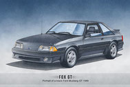 Ford Mustang GT 1991-1993 art print from Lemireart