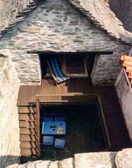 Blick von oben in den kleinen Innenhof