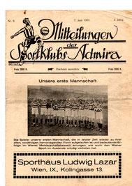 Mitteilungen des Sportklubs Admira aus 1924