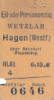 1909: Fahrkarte von Wetzlar nach Hagen über Betzdorf