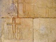 Fig A. Graffiti dans l'enceinte de la bastide de Domme. Datation incertaine XIVe ou XVe siècle. Domme (Dordogne).