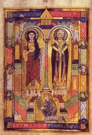 """Widmungsbild des Ratmann-Sakramentar: """"Ratmann übergibt das Sakramentar an den Erzengel Michael und Bernward von Hildesheim"""""""