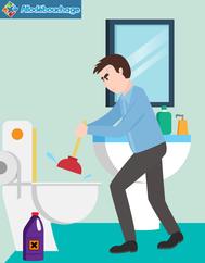 Homme débouchage WC ventouse