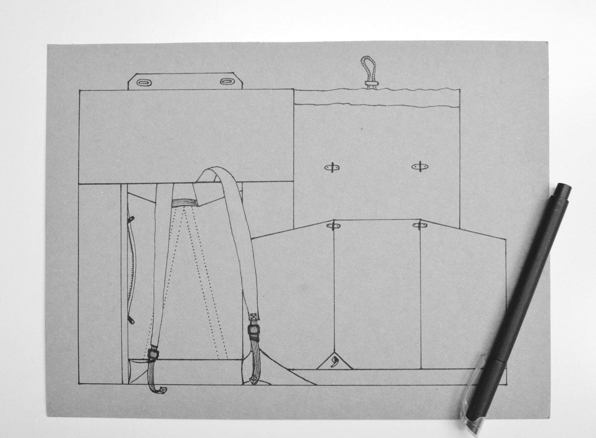 Kontruktionszeichnung des Rucksacks