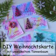 DIY Anleitung für eine Weihnachtskarte mit Handlettering und einem mit Wolle umwickelten Tannenbaum