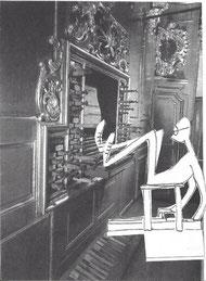 (La caricature de l'organiste illustrant cette posture inconfortable est extraite d'un dessin du compositeur Jehan Alain ; le dessin original complet figure dans le livre d'Aurélie Decourt, Jehan Alain, Comp'Act, 2005, page 212)