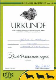 Urkunde KS-Vet 2014 Jameika von Maaskamp
