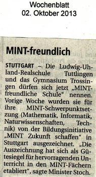 MINT-Auszeichnung der LURS - Wochenblatt 2. Oktober 2013