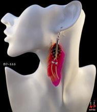 Boucles d'oreilles plumes style cheyenne fushia orange et perles