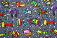 Stretchjersey Perky Puppy grau / Design von Sari Ahokainen  alle Rechte vorbehalten