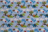 Stretchjersey Janeas Animals auf hellblau / Design von Janeas World  alle Rechte vorbehalten