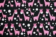Stretchjersey Janeas Giraffen pink auf schwarz / Design von Janeas World  alle Rechte vorbehalten