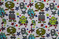 Stretchjersey Janeas Little Monsters weiß / Design von Janeas World  alle Rechte vorbehalten