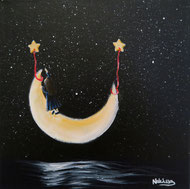 Japanese Nihonga painting a little girl is standing on the moon reaching for a star and her dreams above the water at night surreal artwork for your home art for sale