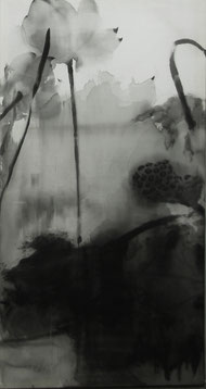 盛塘荷14 LONG LOTUS 14 175X93CM 绢本水墨 INK ON SILK 2007 (收藏于香港 COLLECTED IN HONG KONG)