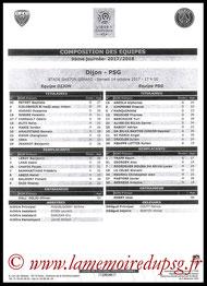 Feuille de match  Dijon-PSG  2017-18