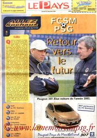 Programme  Sochaux-PSG  2001-02